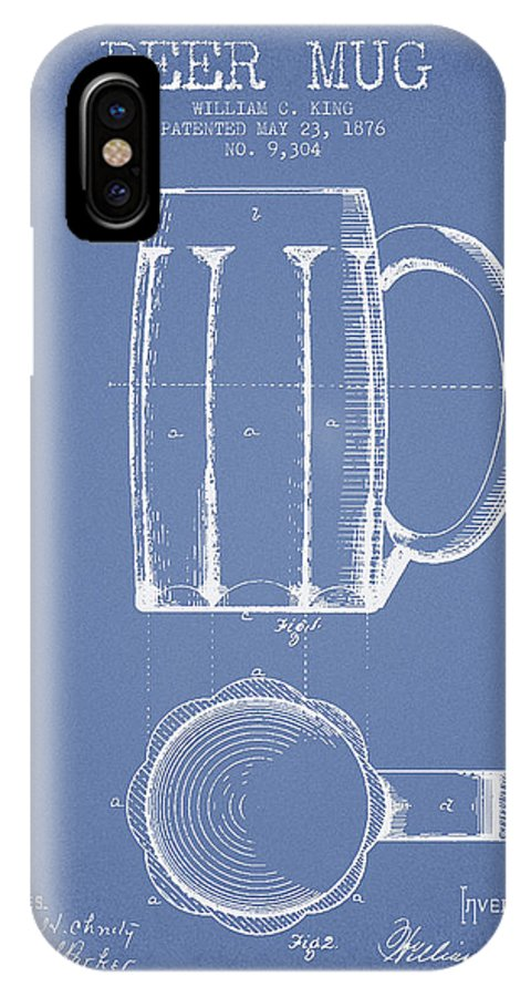 Beer Mug IPhone X Case featuring the digital art Beer Mug Patent From 1876 - Light Blue by Aged Pixel
