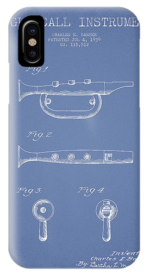 Bugle IPhone X Case featuring the digital art Bugle Call Instrument Patent Drawing From 1939 - Light Blue by Aged Pixel