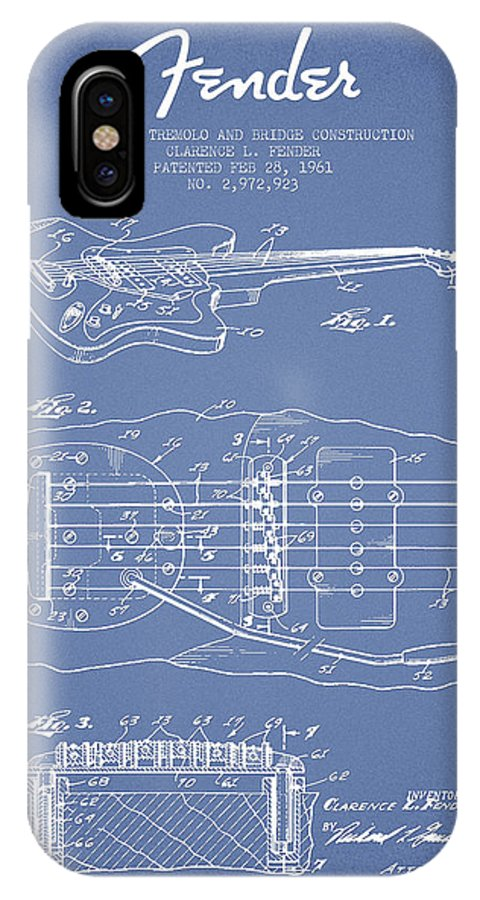 Fender IPhone X Case featuring the digital art Fender Floating Tremolo Patent Drawing From 1961 - Light Blue by Aged Pixel