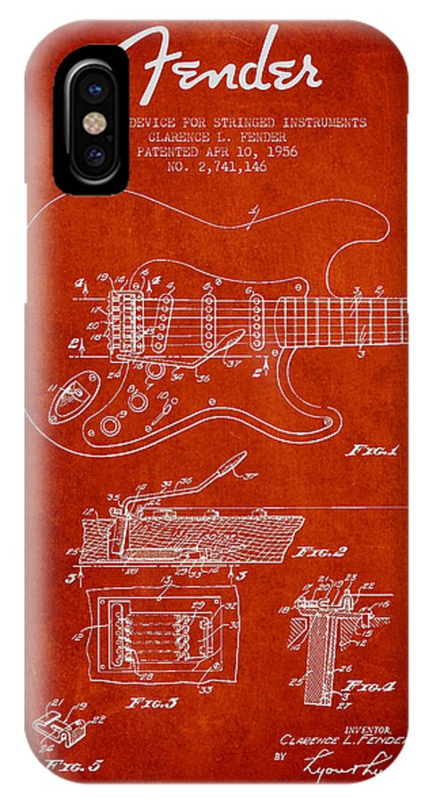 Fender IPhone X Case featuring the digital art Fender Tremolo Device Patent Drawing From 1956 by Aged Pixel