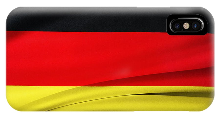 Background IPhone X / XS Case featuring the photograph German Flag by Les Cunliffe