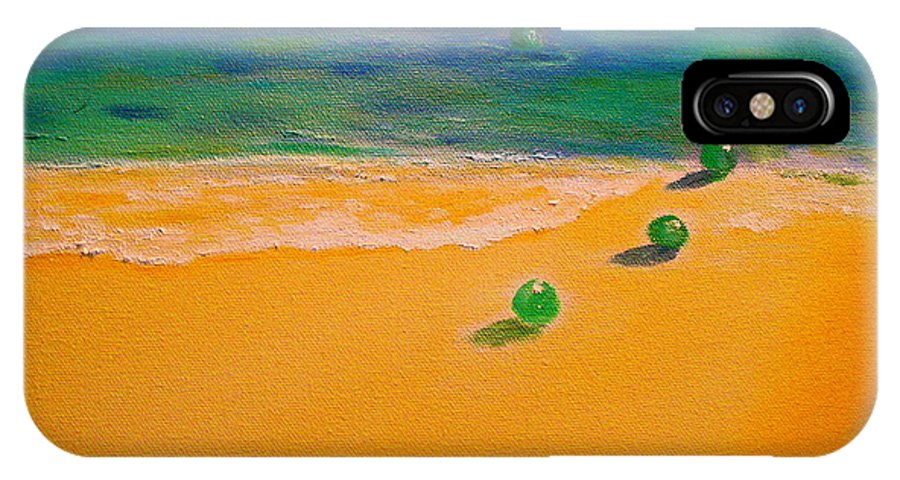 Seascape IPhone X Case featuring the painting 4 Glass Balls by Frank B Shaner