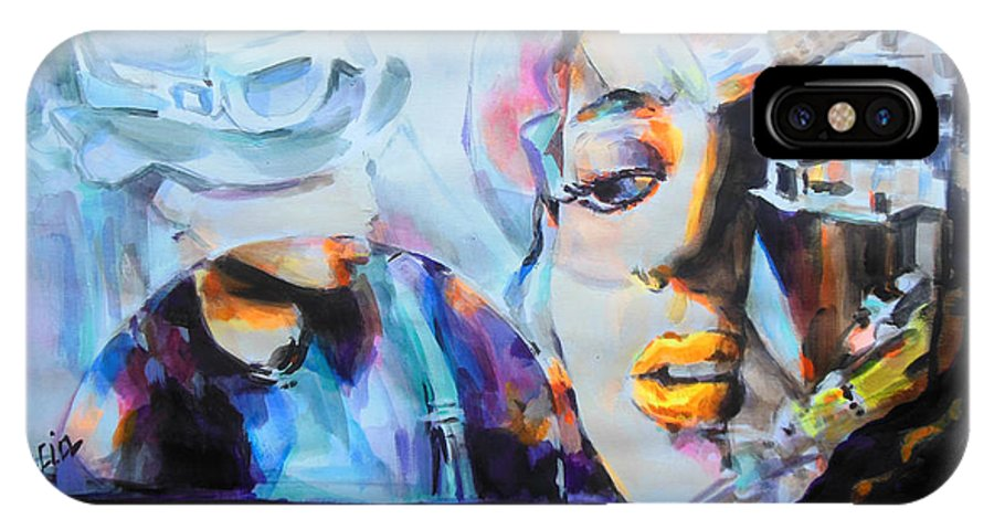 4 Non Blondes IPhone X Case featuring the painting 4 Non Blondes - Linda Perry by Lucia Hoogervorst