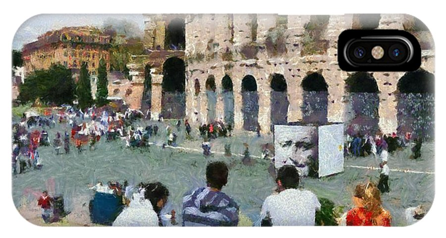 Colosseum IPhone X Case featuring the painting Outside Colosseum In Rome by George Atsametakis