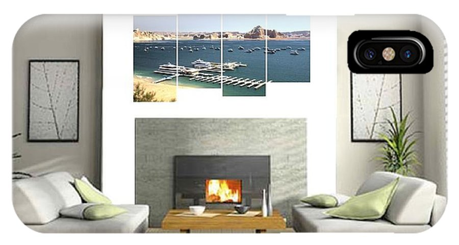 0580 IPhone X Case featuring the photograph 4-panel - Lake Powell Marina by Gordon Elwell