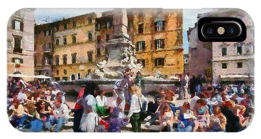 Piazza Della Rotonda IPhone X Case featuring the painting Piazza Della Rotonda In Rome by George Atsametakis