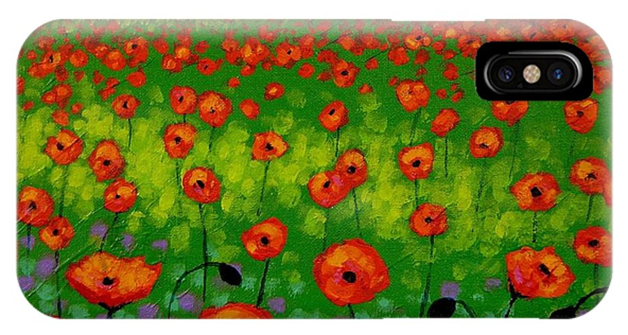 Landscape IPhone X Case featuring the painting Poppy Field by John Nolan