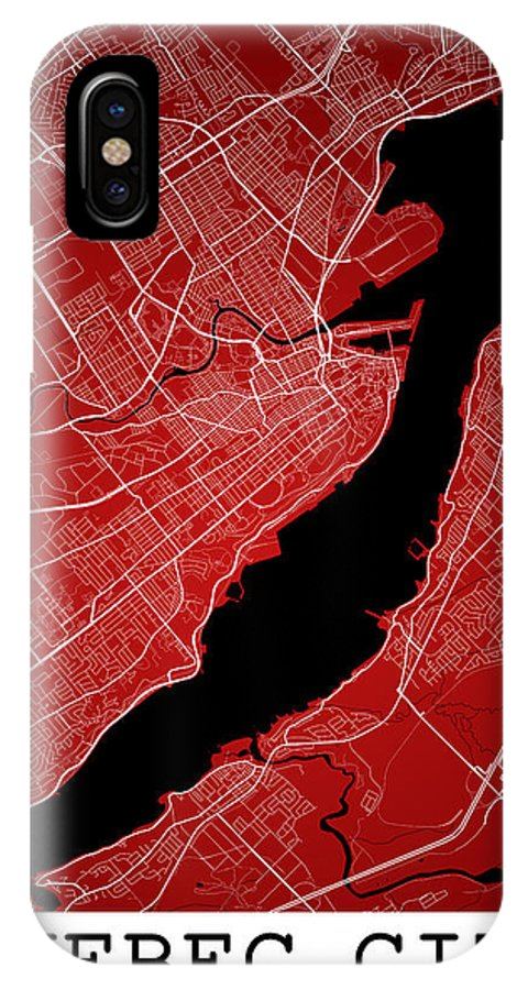 Road Map IPhone X Case featuring the digital art Quebec City Street Map - Quebec City Canada Road Map Art On Colo by Jurq Studio