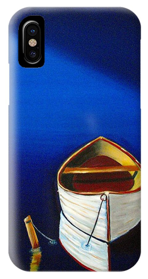Boat IPhone X Case featuring the painting Quiet Harbor by Frank B Shaner