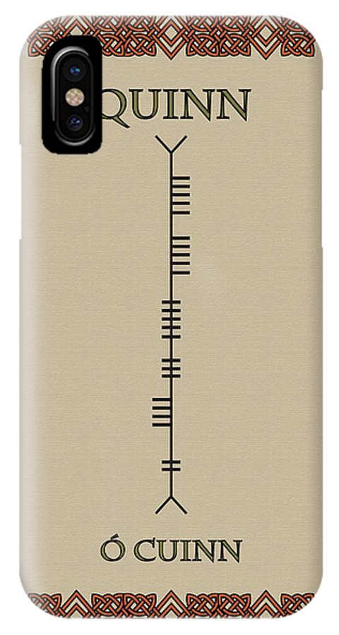Quinn IPhone X Case featuring the digital art Quinn Written In Ogham by Ireland Calling