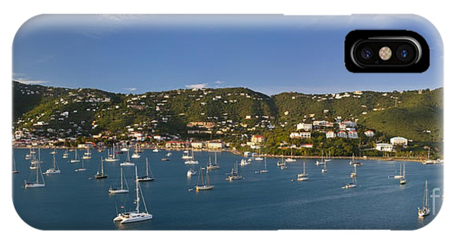 St; Thomas; Charlotte; Amalie; Us Virgin; Island; Islands; Harbor; Harbour; Evening; Sunlight; Sailboat; Sailboats; Boat; Boats; Moored; Anchored; Catamaran; Catamarans; Paradise; Exotic; Tropical; Vacation; Holiday; Blue; Water; Sky; Skies; West Indies; IPhone X Case featuring the photograph Saint Thomas by Brian Jannsen