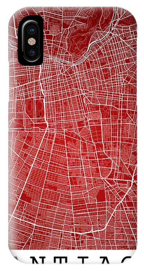 Road Map IPhone X Case featuring the digital art Santiago Street Map - Santiago Chile Road Map Art On Colored Bac by Jurq Studio