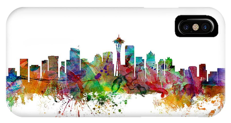 United States IPhone X Case featuring the digital art Seattle Washington Skyline by Michael Tompsett