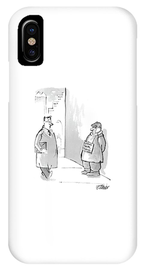Urban Tin Cups Word Play   (man On Street Corner With Sign Around His Neck That Says IPhone X Case featuring the drawing New Yorker March 27th, 2006 by Peter Steiner