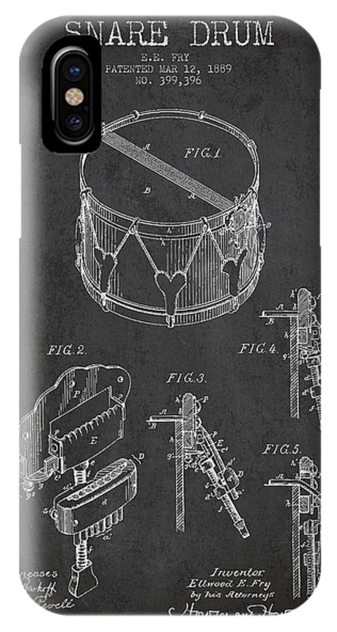 Snare Drum IPhone X Case featuring the digital art Vintage Snare Drum Patent Drawing From 1889 - Dark by Aged Pixel