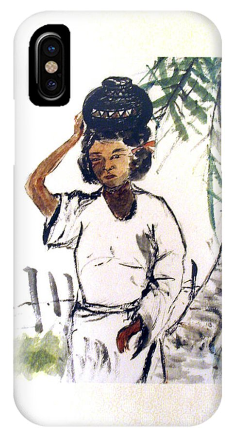 Figurative Painting South East Asia IPhone X Case featuring the painting Water Carrier by Fereshteh Stoecklein