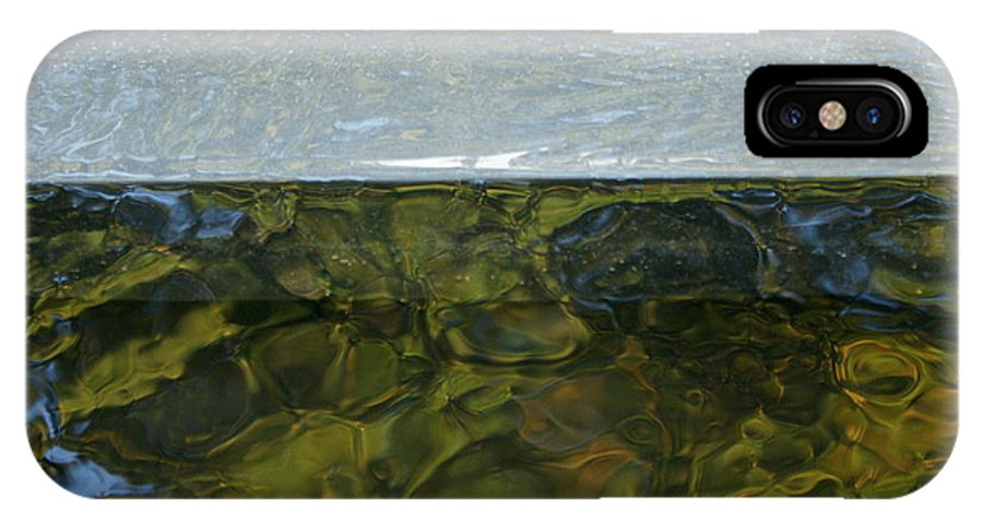 Metallic Reflection Water Marbled Pattern Fluid Illusion Geographic Fantasy Contours Blue Green Backdrop Underwater Unusual Unique Abstract Interesting Organic Water Imaginary Landscape IPhone X Case featuring the photograph Water Colours by Carol Weitz