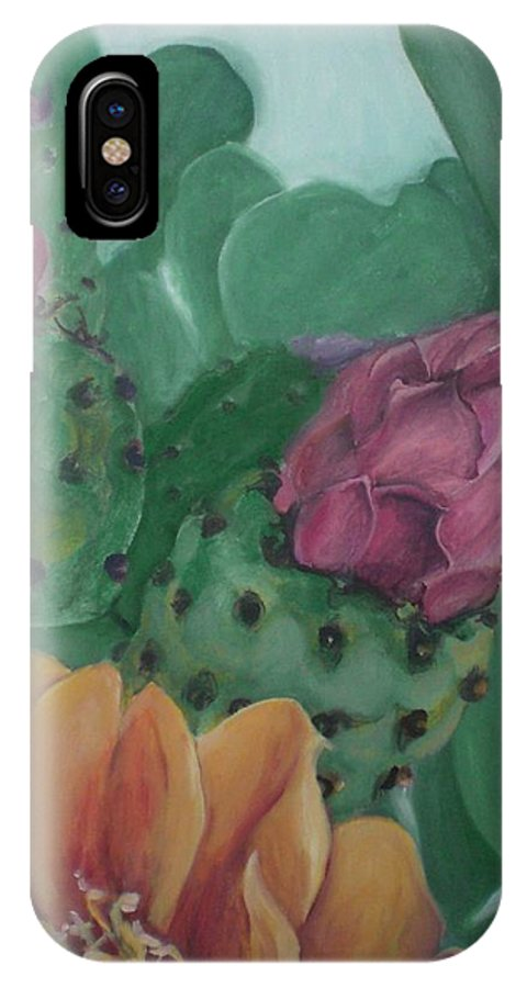 Yellow IPhone X Case featuring the painting Yellow Cactus Blossom by Aleksandra Buha