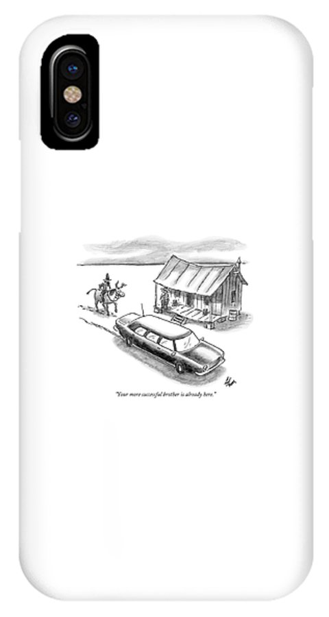 Rich Poor Relationships  (a Man On Horseback Arrives At A Shack To Find A Limo Parked In Front.) 121902 Fco Frank Cotham IPhone X Case featuring the drawing Your More Successful Brother Is Already Here by Frank Cotham