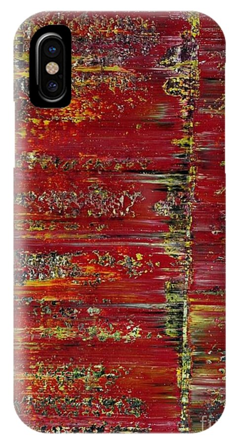 Abstract IPhone X Case featuring the painting 413 by Aivars Kisnics