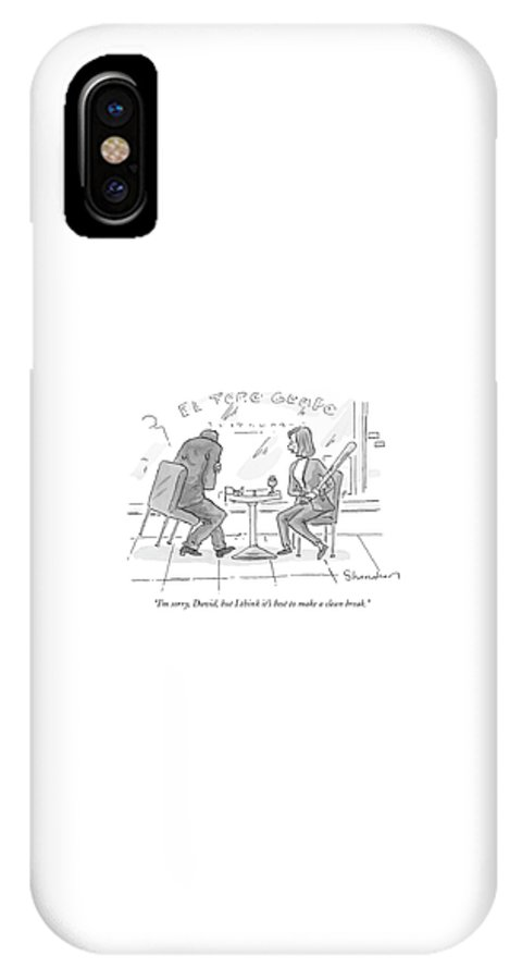 Dating Relationships Violence Problems Word Play  (woman Strikes Male Companion In The Arm With A Baseball Bat. ) 121242 Dsh Danny Shanahan IPhone X Case featuring the drawing I'm Sorry, David, But I Think It's Best To Make by Danny Shanahan