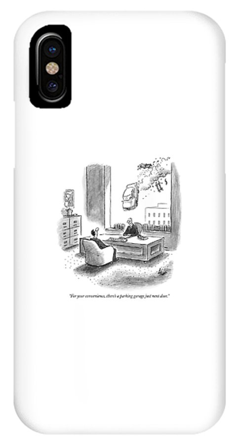 Autos Safety Accidents   (personnel Director To Potential Employee As A Car Is Careening Through The Air IPhone X Case featuring the drawing For Your Convenience by Frank Cotham