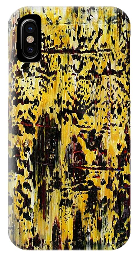 Abstract IPhone X Case featuring the painting 429 by Aivars Kisnics