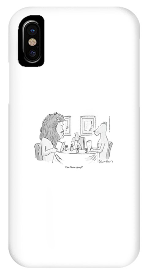 Food Dining Low Cuisine Lions Talking Restaruants  (lion Cub To Parents In A Restaurant.) 120265 Dsh Danny Shanahan IPhone X Case featuring the drawing Can I Have A Pony? by Danny Shanahan