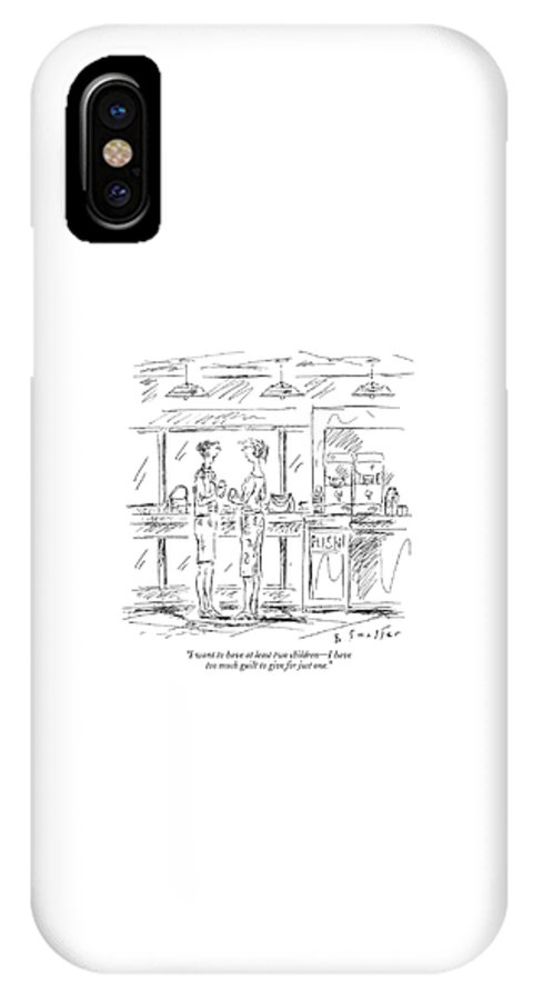Relationships Family Motivation Problems Psychology  (one Woman Talking To Another.) 120963 Bsm Barbara Smaller IPhone X Case featuring the drawing I Want To Have At Least Two Children - by Barbara Smaller