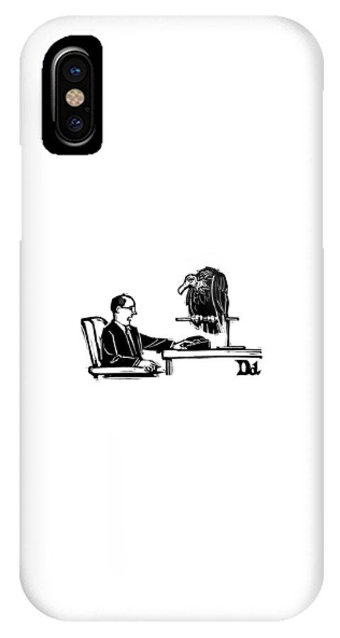 Captionless IPhone X Case featuring the drawing New Yorker March 10th, 2008 by Drew Dernavich