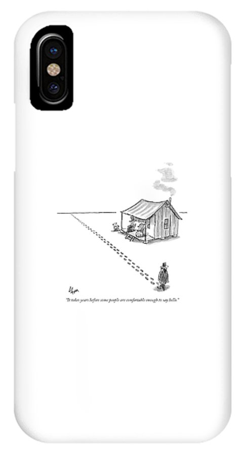 Desert Isle Introductions Neighbors   (man In Desert Walks Past Shack With Couple On Porch Without Stopping.) 121012 Fco Frank Cotham IPhone X Case featuring the drawing It Takes Years Before Some People Are Comfortable by Frank Cotham