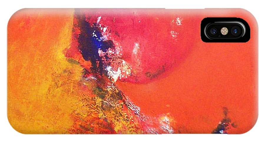 Abstract.red Painting IPhone X Case featuring the painting Sold by Sanjay Punekar