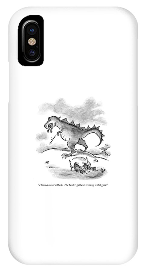 Economics IPhone X Case featuring the drawing This Is A Minor Setback. The Hunter-gatherer by Frank Cotham