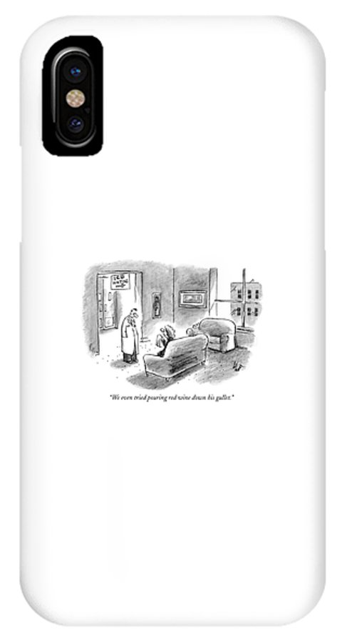 Death IPhone X Case featuring the drawing We Even Tried Pouring Red Wine Down His Gullet by Frank Cotham