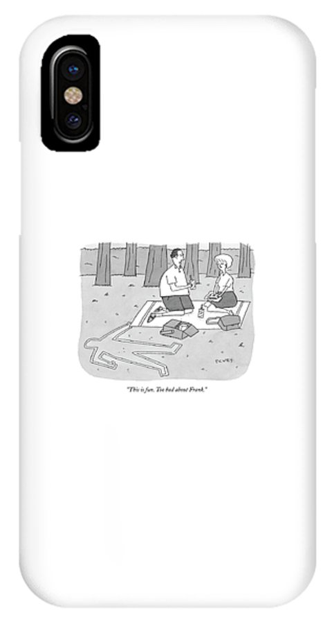 Death Problems Relationships Crime  (couple Picnicking Next To Chalk Outline.) 122509  Pve Peter C. Vey IPhone X Case featuring the drawing This Is Fun. Too Bad About Frank by Peter C. Vey