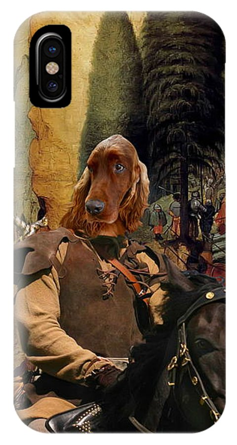 Irish Setter IPhone X Case featuring the painting Irish Setter Art Canvas Print by Sandra Sij