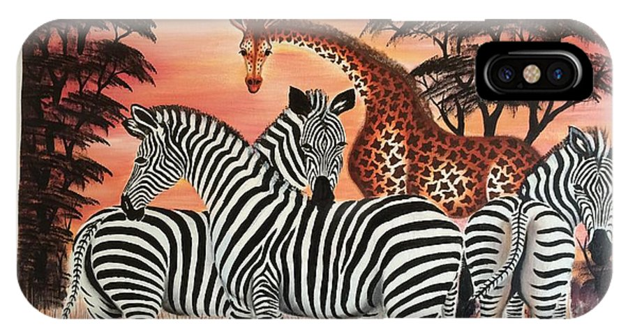 Zebras And Giraffe IPhone X Case featuring the painting Animals by Moses Kaale