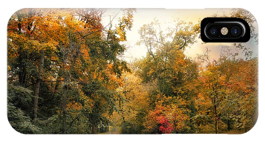 Autumn IPhone X Case featuring the photograph Autumn's Sunset Path by Jessica Jenney