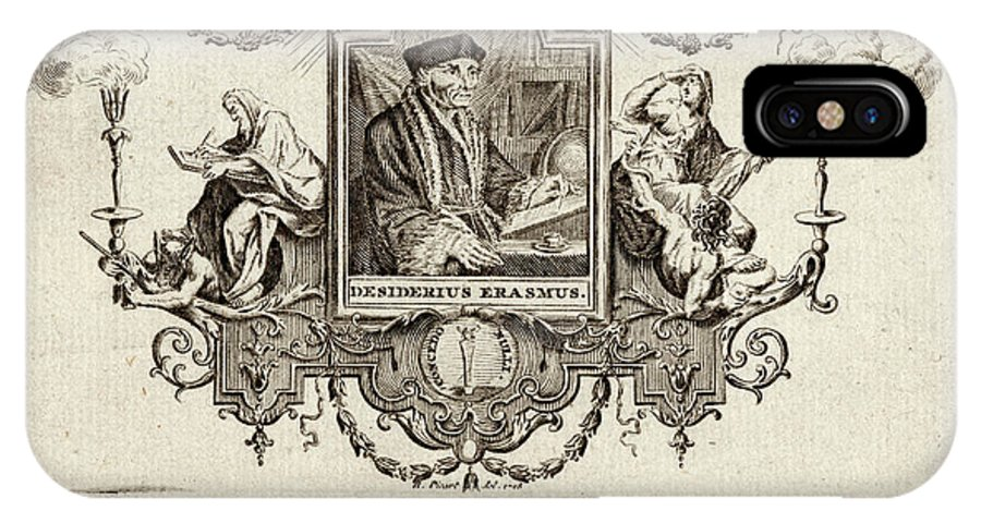 Erasmus IPhone X Case featuring the drawing Desiderius Erasmus Dutch Humanist by Mary Evans Picture Library