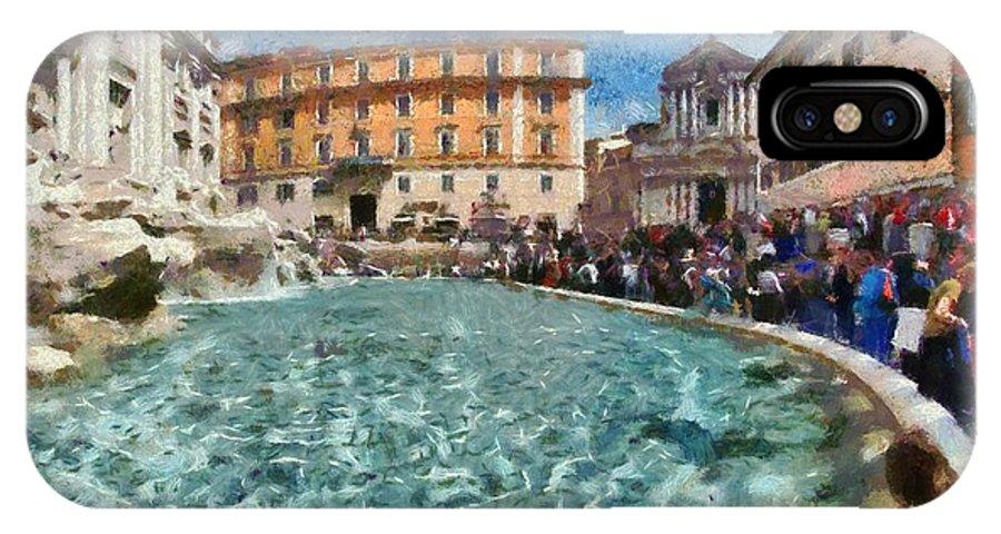 Fontana Di Trevi IPhone X Case featuring the painting Fontana Di Trevi In Rome by George Atsametakis