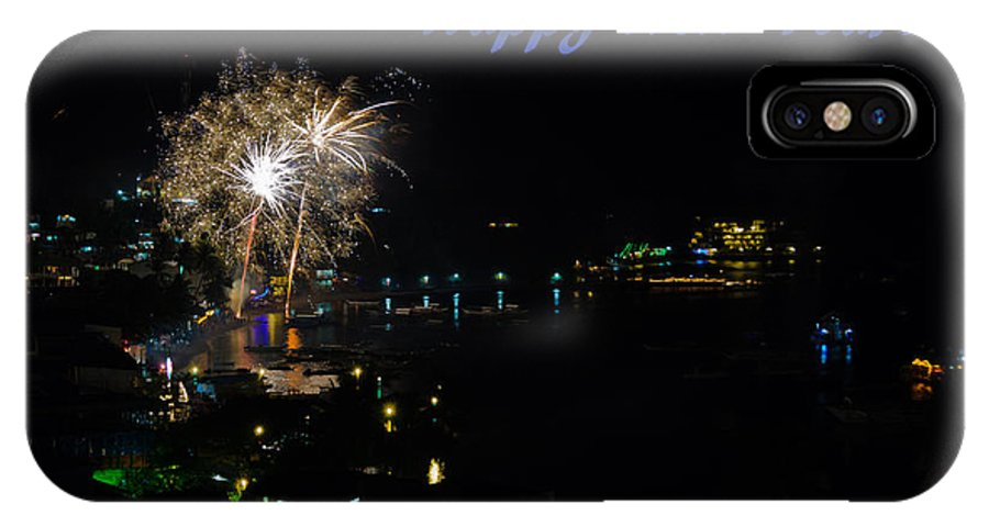 Asia IPhone X Case featuring the photograph Happy New Year Greeting Card - Fireworks Display by Colin Utz
