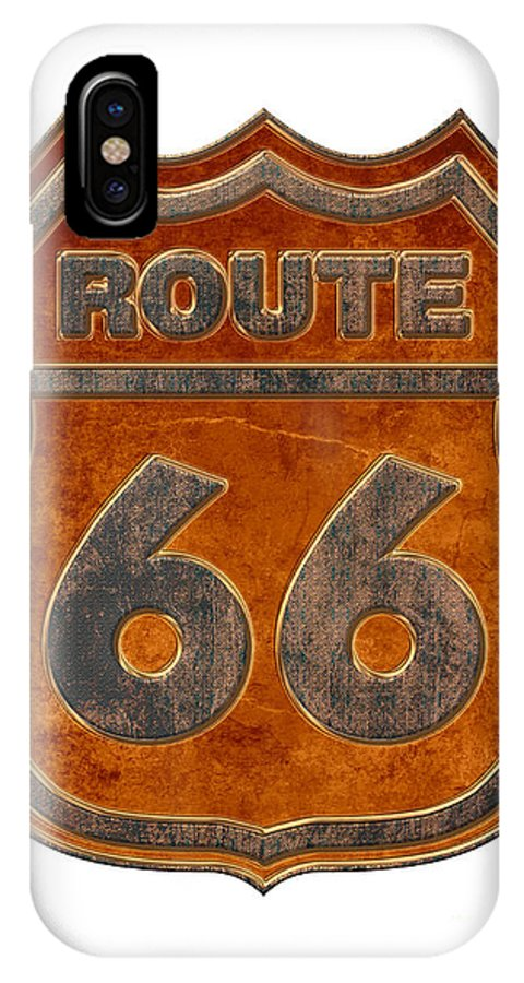 America IPhone X Case featuring the digital art Historical Route 66 Sign Illustration by Indian Summer