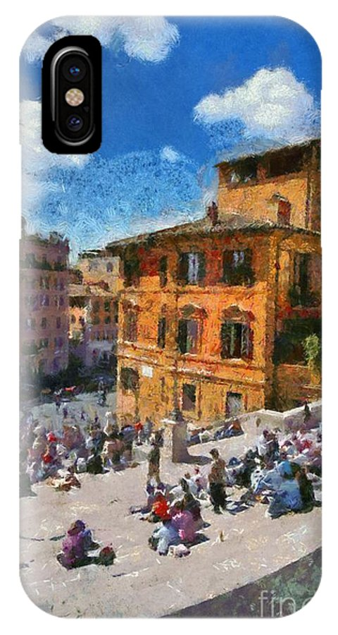 Spanish Steps; Piazza Di Spagna; Rome; People; Tourists; Italy; Roma; City; Capital; Lazio; Sit; Sitting; Walk; Walking; Relaxing; Relaxation; Center; Central; Historic; Historical; Square; Travel; Trip; Journey; Holidays; Vacation; Sunny; World Heritage City IPhone X Case featuring the painting Spanish Steps At Piazza Di Spagna by George Atsametakis
