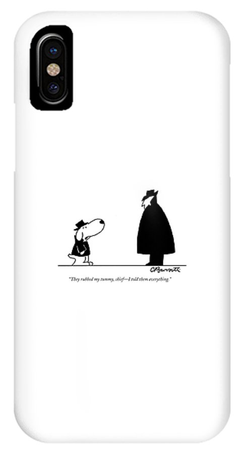 Interrogate IPhone X Case featuring the drawing They Rubbed My Tummy by Charles Barsotti