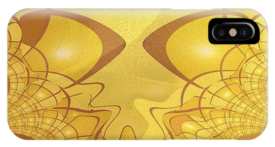 Colour Gold IPhone X Case featuring the painting 547 - All That Gold by Irmgard Schoendorf Welch