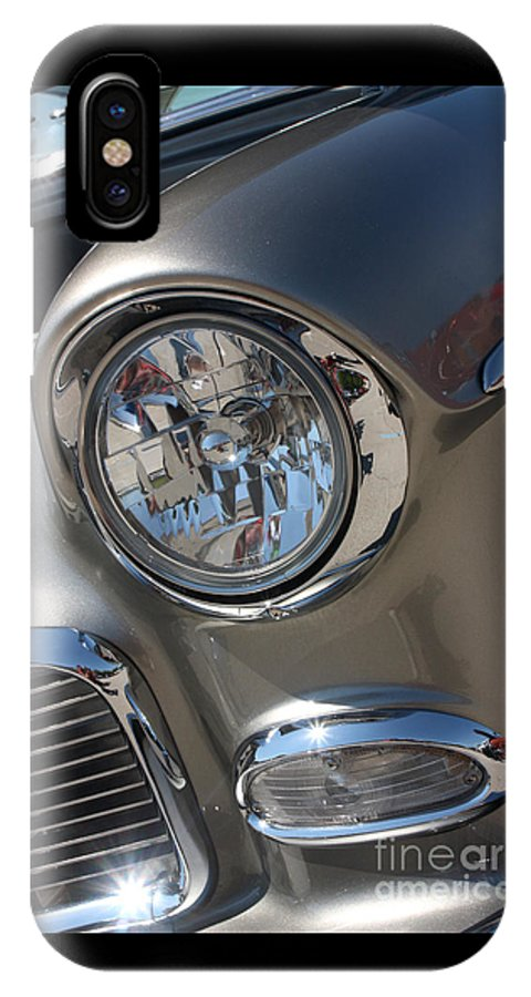 1955 Chevrolet Bel Air IPhone X Case featuring the photograph 55 Bel Air Headlight-8200 by Gary Gingrich Galleries