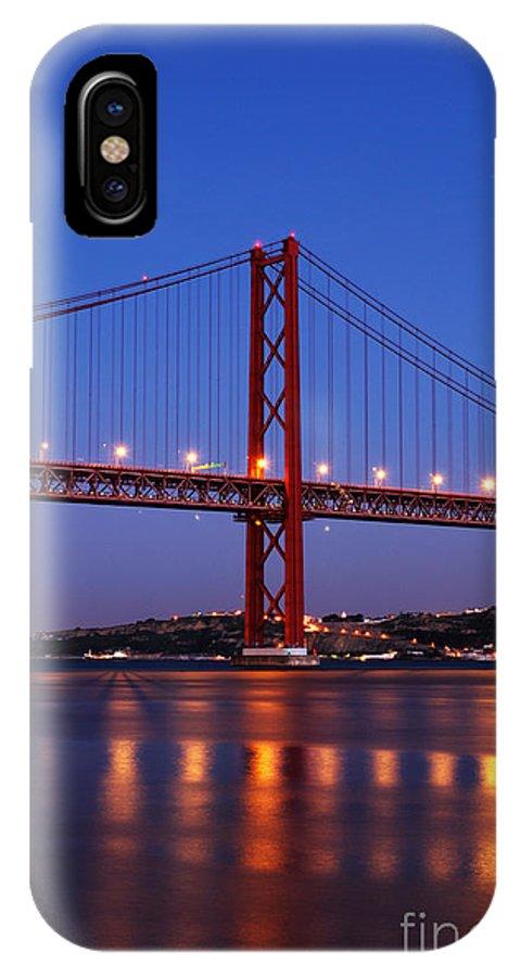 April IPhone X Case featuring the photograph April Bridge In Lisbon by Luis Alvarenga