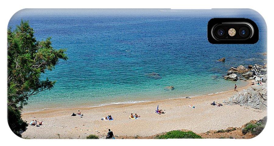 Beach; Legrena; Legraina; Kape; Sea; Sand; People; Sunbathing; Suntanning; Tanning; Relaxing; Relaxation; Water; Clear; Transparent; Athens; Attica; Attika; Attiki; Greece; Hellas; Greek; Hellenic; Europe; European; Holidays; Vacation; Travel; Trip; Voyage; Journey; Tourism; Touristic; Photos; Photograph; Photography IPhone X Case featuring the photograph Beach In Legrena by George Atsametakis