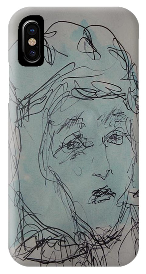 Doodle IPhone X Case featuring the drawing Composition 44 by Edward Wolverton