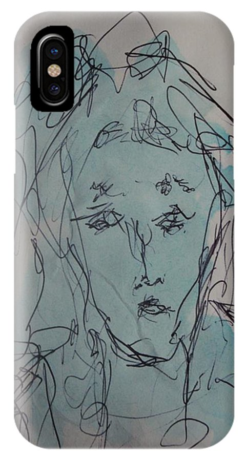 Doodle IPhone X Case featuring the drawing Composition 45 by Edward Wolverton
